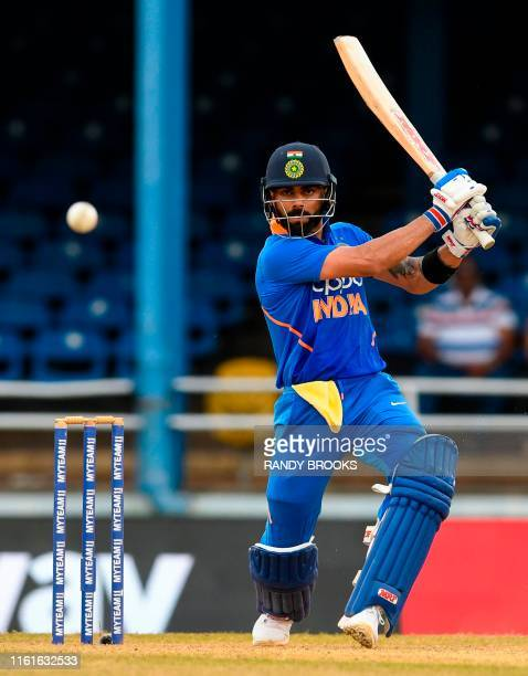 Virat Kohli of India hits 4 during the 3rd ODI match between West Indies and India at Queens Park Oval, Port of Spain, Trinidad and Tobago, on August...