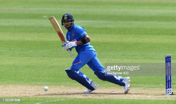 Virat Kohli of India hits out during the ICC Cricket World Cup 2019 Warm Up match between Bangladesh and India at Cardiff Wales Stadium on May 28...