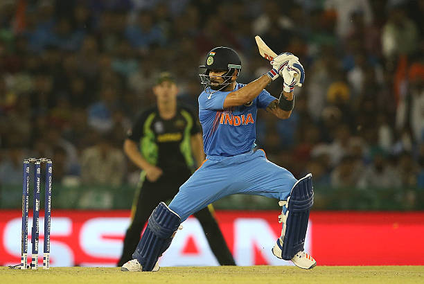 Virat Kohli of India hits out during the ICC World Twenty20 India 2016 Super 10s Group 2 match between India and Australia at IS Bindra Stadium on...