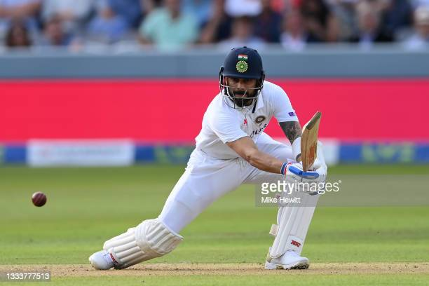 Virat Kohli of India hits out during the Second LV= Insurance Test Match: Day One between England and India at Lord's Cricket Ground on August 12,...