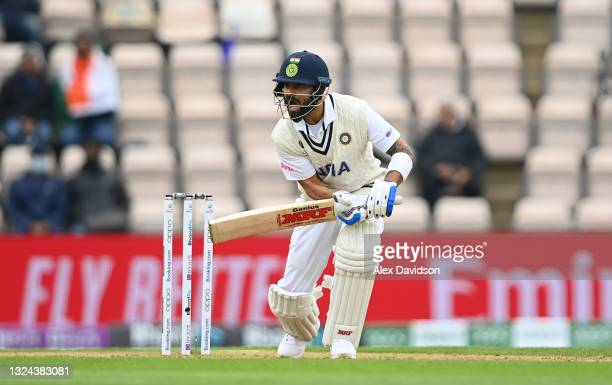 Virat Kohli of India hits runs during Day 2 of the ICC World Test Championship Final between India and New Zealand at The Hampshire Bowl on June 19,...
