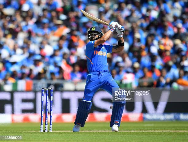 Virat Kohli of India in action batting during the Group Stage match of the ICC Cricket World Cup 2019 between West Indies and India at Old Trafford...