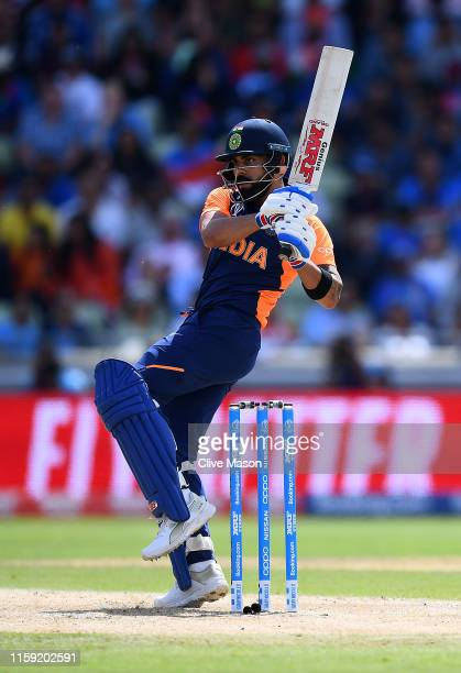Virat Kohli of India in action batting during the Group Stage match of the ICC Cricket World Cup 2019 between England and India at Edgbaston on June...