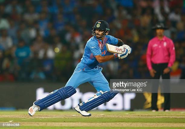 Virat Kohli of India in action during the ICC World Twenty20 India 2016 Group 2 match between New Zealand and India at the Vidarbha Cricket...