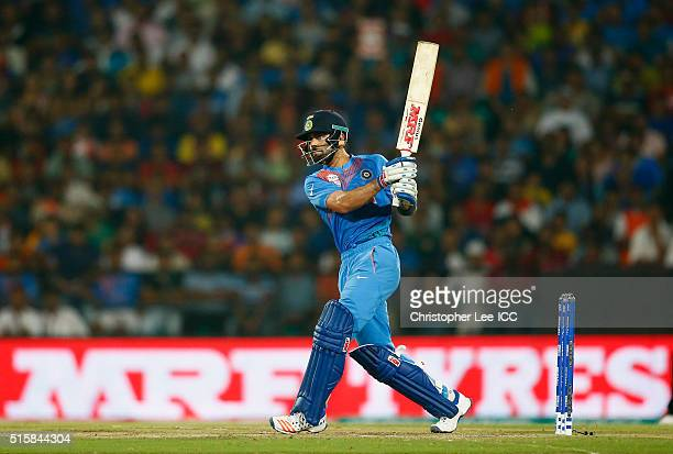 Virat Kohli of India in action during the ICC World Twenty20 India 2016 Group 2 match between New Zealand and India at the Vidarbha Cricket...