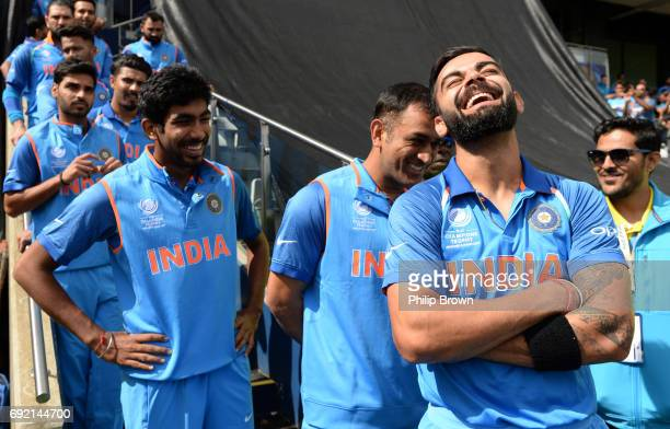Virat Kohli of India laughs before the ICC Champions Trophy match between India and Pakistan at Edgbaston cricket ground on June 4 2017 in Birmingham...