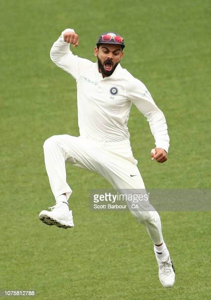 Virat Kohli of India leaps in the air as he celebrates the final wicket to win the match during day five of the Third Test match in the series...