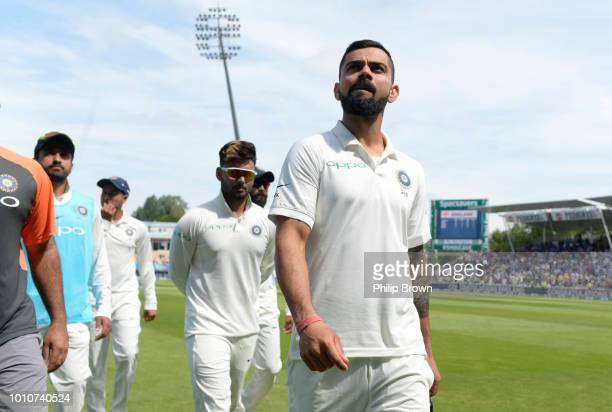 Virat Kohli of India leaves the field after England won the 1st Specsavers Test Match between England and India at Edgbaston on August 4 2018 in...