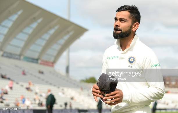 Virat Kohli of India leaves the field after India won the 3rd Specsavers Test Match between England and India at Trent Bridge on August 22 2018 in...
