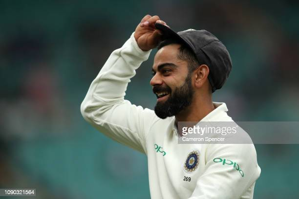 Virat Kohli of India leaves the field during day four of the Fourth Test match in the series between Australia and India at Sydney Cricket Ground on...