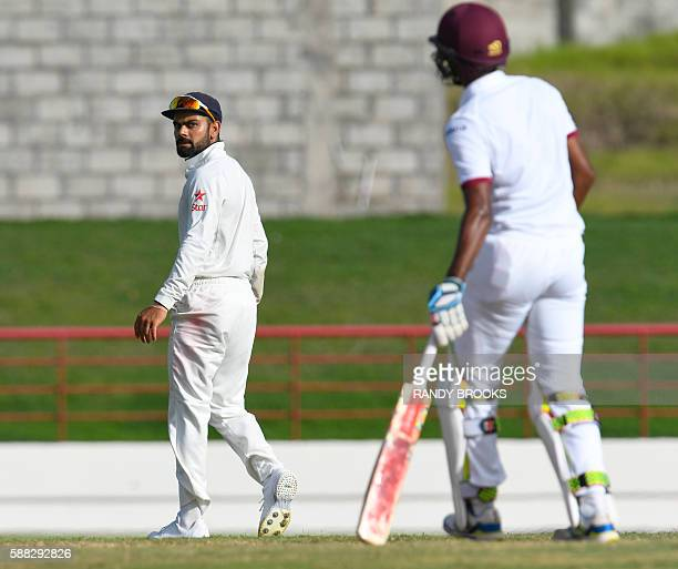 Virat Kohli of India looks at Kraigg Brathwaite of West Indies during day 2 of the 3rd Test between West Indies and India August 10 2016 at Darren...