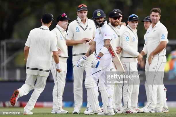 Virat Kohli of India looks dejected after being dismissed by Colin de Grandhomme of New Zealand during day two of the Second Test match between New...
