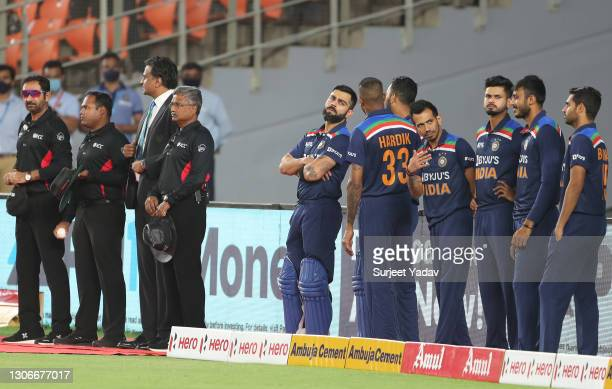 Virat Kohli of India looks on ahead of the 1st T20 International match between India and England at Sardar Patel Stadium on March 12, 2021 in...