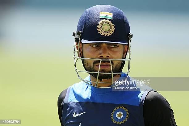 Virat Kohli of India looks on during an India training session at Adelaide Oval on November 29 2014 in Adelaide Australia