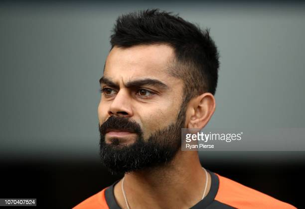 Virat Kohli of India looks on during game one of the the International Twenty20 series between Australia and India at The Gabba on November 21 2018...