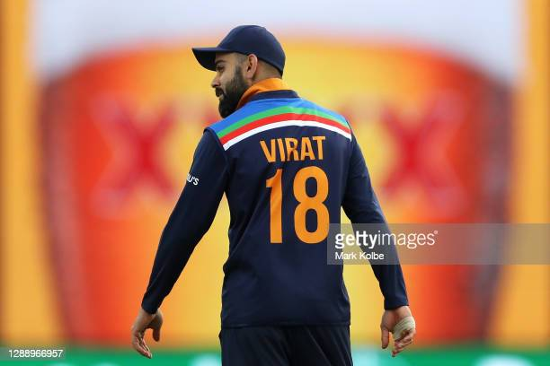 Virat Kohli of India looks on during game three of the One Day International series between Australia and India at Manuka Oval on December 02, 2020...
