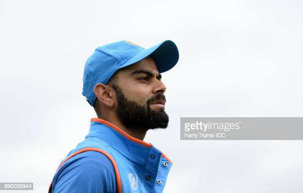 Virat Kohli of India looks on during the ICC Champions Trophy Warmup match between India and Bangladesh at the Kia Oval on May 30 2017 in London...