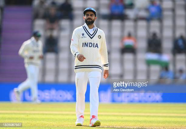 Virat Kohli of India looks on during the Reserve Day of the ICC World Test Championship Final between India and New Zealand at The Hampshire Bowl on...