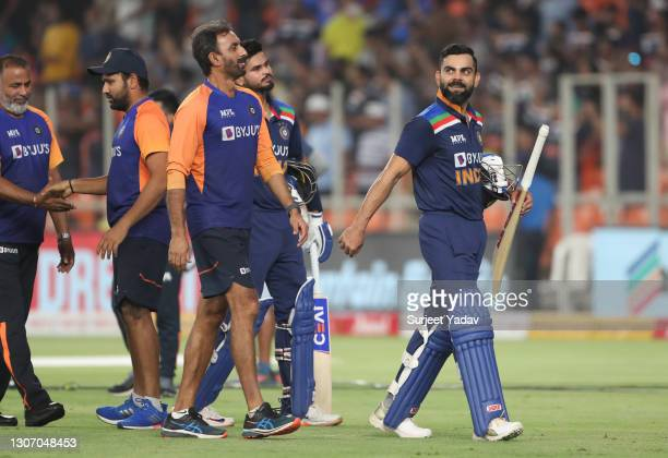 Virat Kohli of India looks on following the 2nd T20 International match between India and England at Narendra Modi Stadium on March 14, 2021 in...