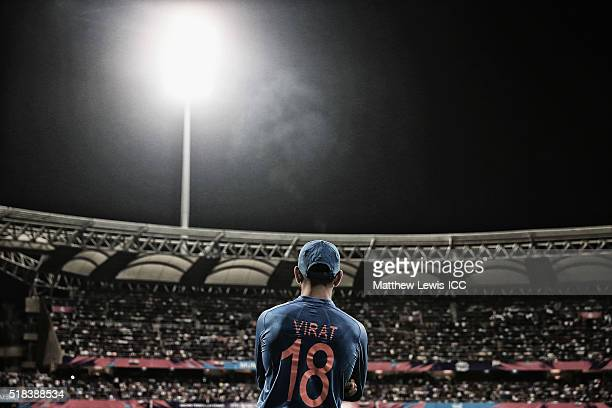 Virat Kohli of India looks on in the field during the ICC World Twenty20 India 2016 SemiFinal match between West Indies and India at the Wankhede...