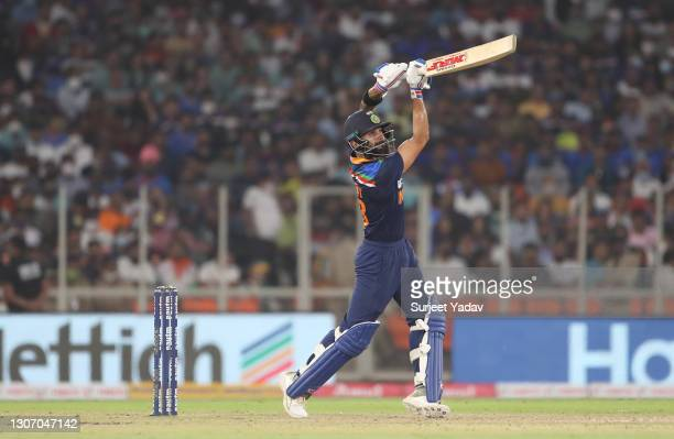 Virat Kohli of India plays a shot during the 2nd T20 International match between India and England at Narendra Modi Stadium on March 14, 2021 in...