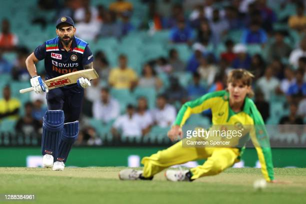 Virat Kohli of India plays a shot past Adam Zampa of Australia during game two of the One Day International series between Australia and India at...