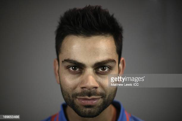 Virat Kohli of India poses during an India Portrait Session at the Hyatt Hotel ahead of the ICC Champions Trophy at Edgbaston on May 30 2013 in...