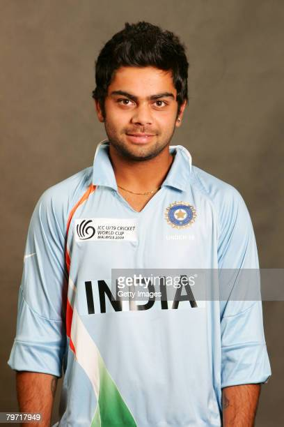 Virat Kohli of India poses during the ICC U/19 Cricket World Cup official team photo calls at the Sunway Hotel on February 12 2008 in Kuala Lumpur...