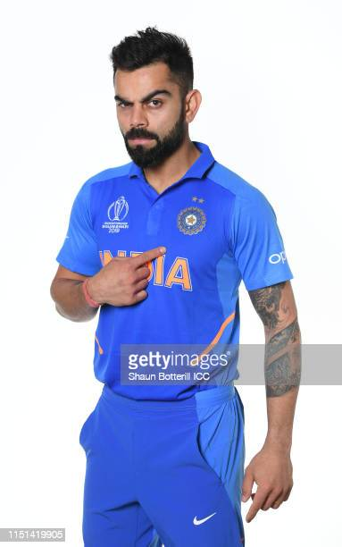 Virat Kohli of India poses for a portrait prior to the ICC Cricket World Cup 2019 at the Plaza Hotel on May 24, 2019 in London, England.