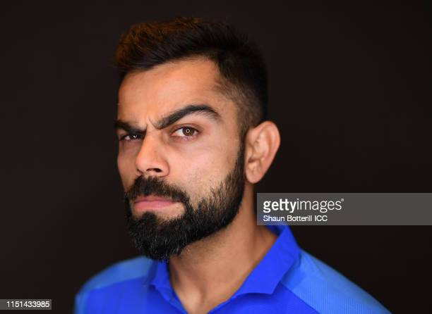 Virat Kohli of India poses for a portrait prior to the ICC Cricket World Cup 2019 at the Plaza Hotel on May 24 2019 in London England
