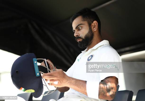 Virat Kohli of India prepares to bat during day three of the second match in the Test series between Australia and India at Perth Stadium on December...