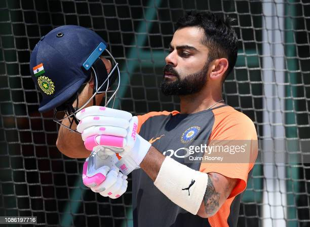 Virat Kohli of India prepares to bat in the nets during an India training session at Melbourne Cricket Ground on December 24 2018 in Melbourne...