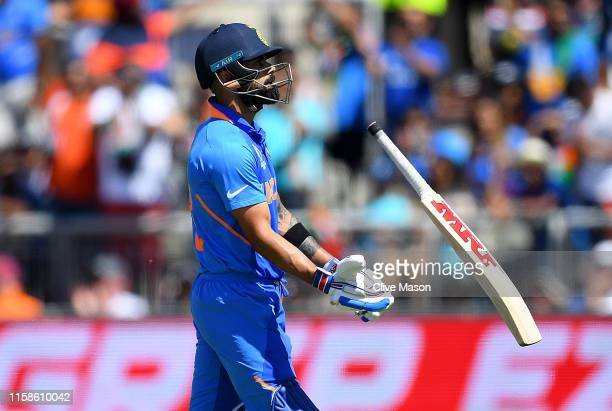 Virat Kohli of India reacts after being dismissed by Jason Holder of West Indies during the Group Stage match of the ICC Cricket World Cup 2019...