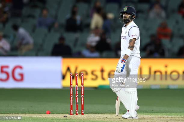 Virat Kohli of India reacts after being run-out during day one of the First Test match between Australia and India at Adelaide Oval on December 17,...