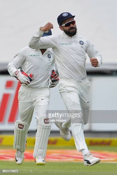Virat Kohli of India reacts after the catch to dismiss Hashim Amla of South Africa during day 4 of the 1st Sunfoil Test match between South Africa...