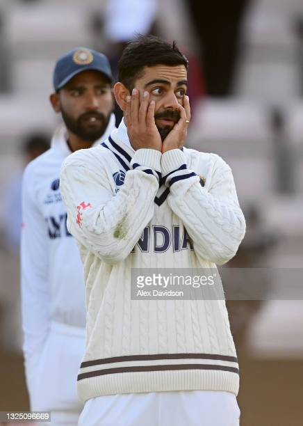 Virat Kohli of India reacts after the Reserve Day of the ICC World Test Championship Final between India and New Zealand at The Hampshire Bowl on...