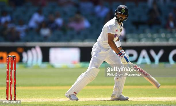 Virat Kohli of India reacts as he is caught by Cameron Green of Australia during day three of the First Test match between Australia and India at...