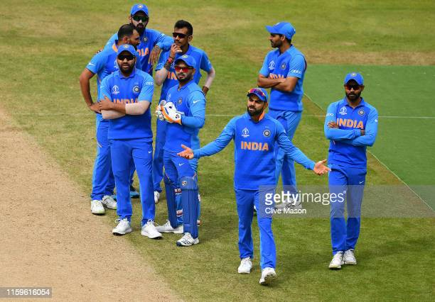 Virat Kohli of India reacts as his review for the wicket of Soumya Sarkar of Bangladesh is unsucessful during the Group Stage match of the ICC...