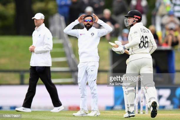 Virat Kohli of India reacts during day three of the Second Test match between New Zealand and India at Hagley Oval on March 02, 2020 in Christchurch,...
