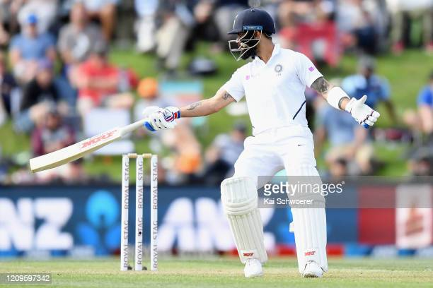 Virat Kohli of India reacts during day two of the Second Test match between New Zealand and India at Hagley Oval on March 01, 2020 in Christchurch,...