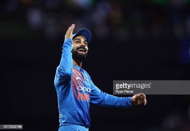 Virat Kohli of India reacts during the International Twenty20 match between Australia and India at Sydney Cricket Ground on November 25, 2018 in...