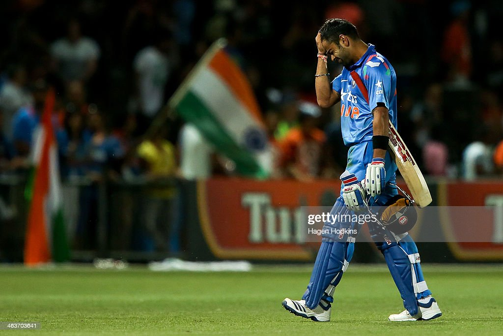Virat Kohli of India shows his disappointment after being dismissed during the first One Day International match between New Zealand and India at McLean Park on January 19, 2014 in Napier, New Zealand.