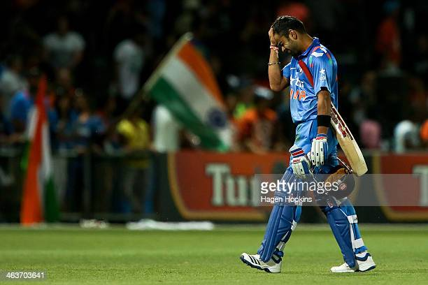 Virat Kohli of India shows his disappointment after being dismissed during the first One Day International match between New Zealand and India at...