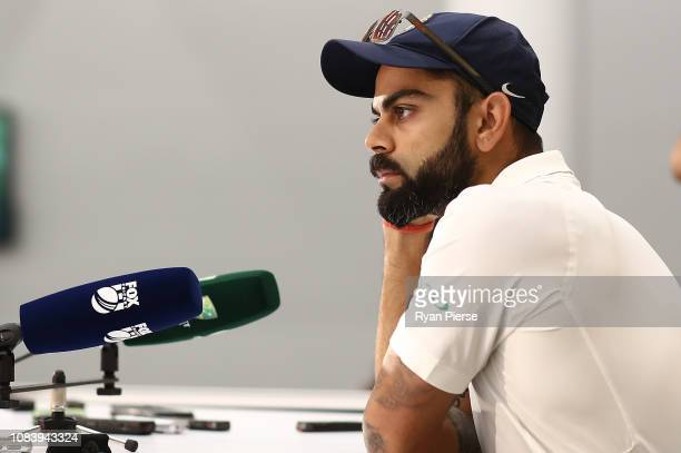 Virat Kohli of India speaks during his press conference after day five of the second match in the Test series between Australia and India at Perth...