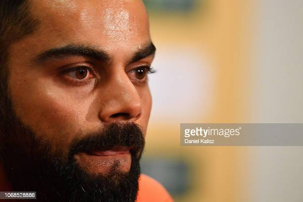 Virat Kohli of India speaks to the media during a press conference held prior to an Indian training session at Adelaide Oval on December 5, 2018 in...