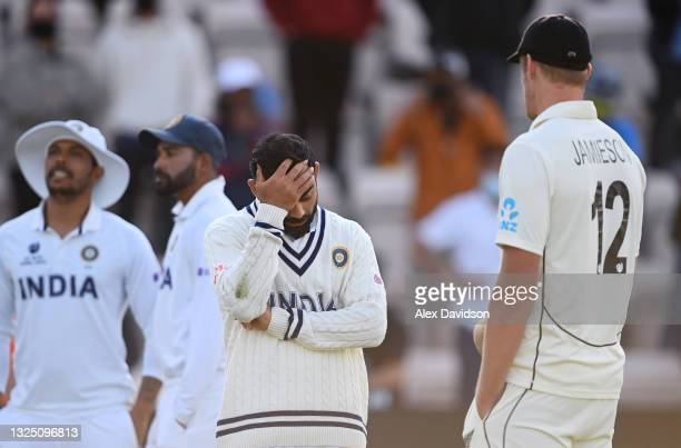Virat Kohli of India talks to Kyle Jamieson after the Reserve Day of the ICC World Test Championship Final between India and New Zealand at The...
