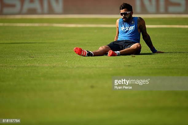 Virat Kohli of India trains during an India training session at Wankhede Stadium on March 30 2016 in Mumbai India