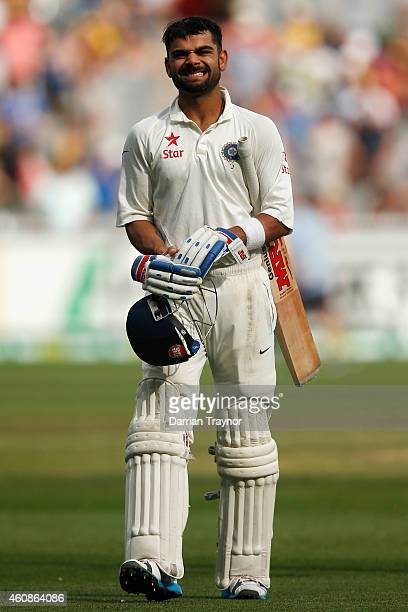 Virat Kohli of India walks from the field after being dismissed for 169 during day three of the Third Test match between Australia and India at...