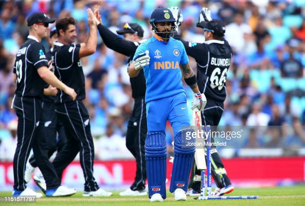 Virat Kohli of India walks off after being bowled out by Colin de Grandhomme of New Zealand during the ICC Cricket World Cup 2019 Warm Up match...
