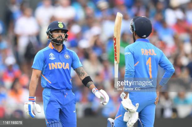 Virat Kohli of India walks off after being dismissed during the SemiFinal match of the ICC Cricket World Cup 2019 between India and New Zealand at...